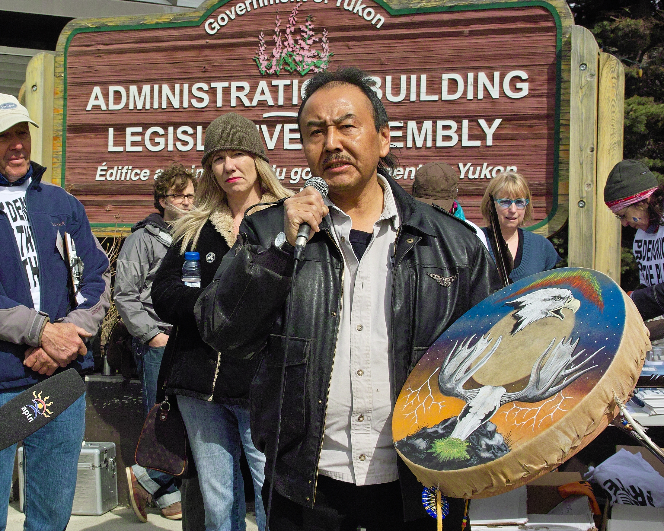 Joseph O'Brien - Northern Tutchone citizen speaks at a Peel Watershed protest in May 2012.