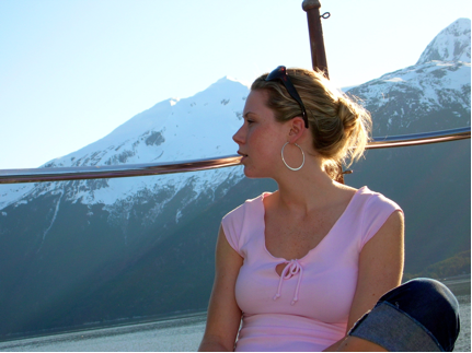 My daughter in law, Shellane on the bow of the AUDREY ELEANOR in the Lynn Canol between Skagway and Haines Alaska