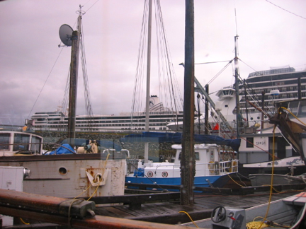 A combination of Cruise ships and live-aboards creates an interesting environment in Thomas Basin a marina in Ketchikan Alaska