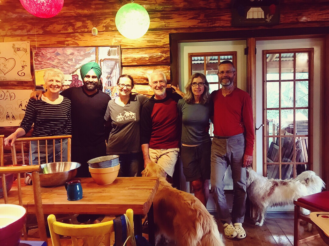 First We Eat mission: Dr. Suzanne Crocker, Miche Genest, Hector, Cindy, Arno, and two beautiful dogs.