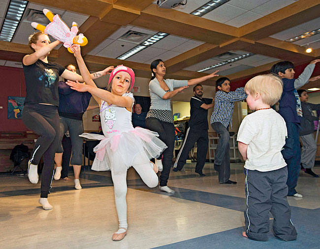 Children learning Bhangra at the L'AFY (Yukon French Association) building in Whitehorse.